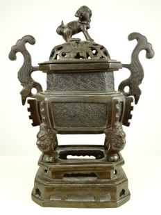 Bronze incense burner - China - Approx. 1900/1920