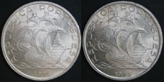 Portugal – 2 Coins of 10 Escudos in SILVER – 1954 and 1955 – Portuguese Republic – AG: 44.01 and 44.02 – FDC – UNC