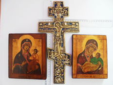 Set of two russian orthodox iсons and the big bronze enamaled russian сross crucifix, hand painted, tempera, wood, bronze casting, XX th century..