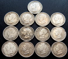 Spain - Alfonso XIII - lot of 13 50 silver cent coins from the year 1904.