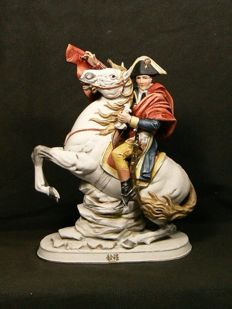 Capodimonte - Statue of Napoleon on horseback in polychrome biscuit