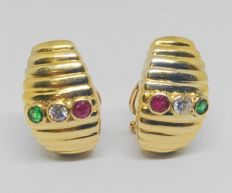 18 kt – Yellow gold earrings – Diamonds, emeralds and rubies