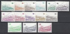 Belgium - Railway stamps OBP nos. TR380P4 through TR397P4 series on polyvalent paper