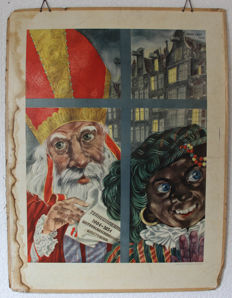 School poster on cardboard - Sinterklaas and Zwarte Piet by Ohm