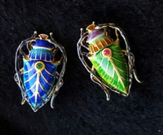 24k Gold-plated Great handwork Enamel sterling silver brooch  ,Weight : approx :8.83 g (2)