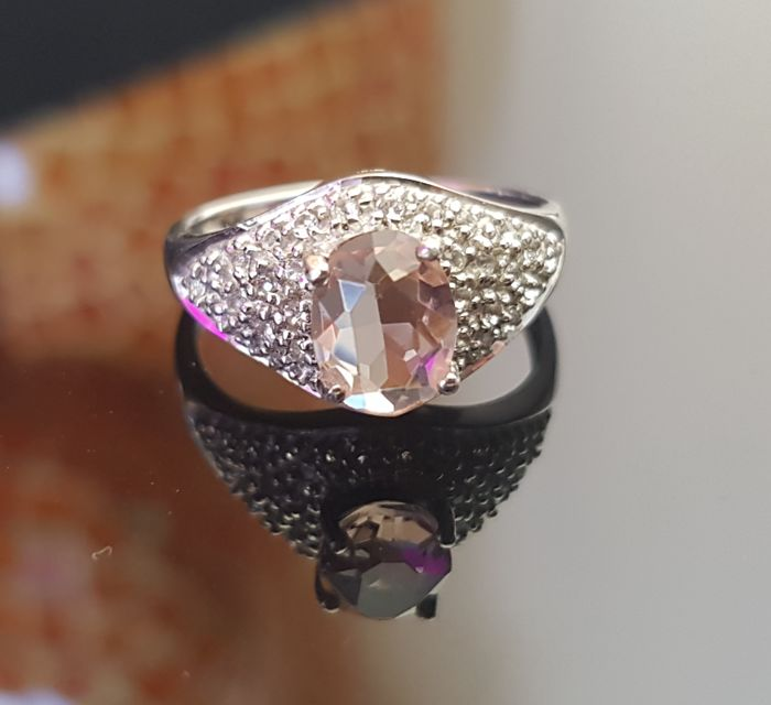 Morganite ring with white topazes