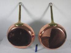 2 large French copper pans - frying pans - 26.5 cm - 2.5 kilos - unused