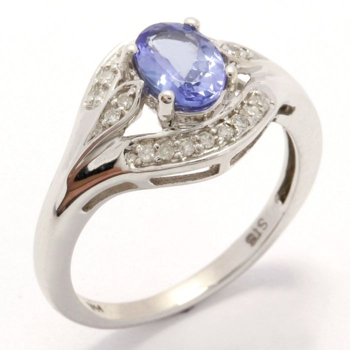 14k White Gold Ring 0.20 ct Diamonds & 1.00 ct Tanzanite - 7
