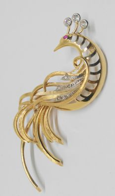 Brooch - bird of paradise - in gold with diamonds