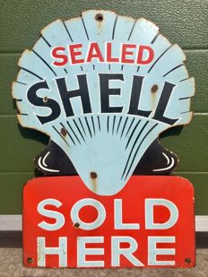 Old Shell Petrol Enamel Sign