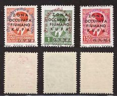 Fiumano Kupa 1942 –  ZOFK, ONMI series with different colours of overprints: Sassone #39-41.