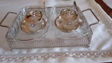 Silver-plated set for spices, breakfast, jams, France, first half of the 20th century