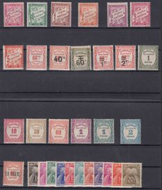 France 1893/1943 – Lot of tax stamps – Yvert between 32 and 77