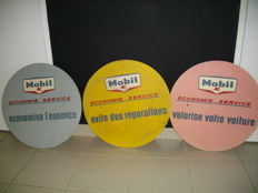Set of 3 rare MOBIL advertising panels