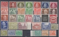 Berlin 1949/1954 - various starting values and series on a stock card, Michel 57/60, 80/86