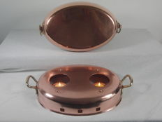 Solid brass table warmer with matching serving pan - made in France