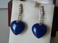 Gold earrings (18 kt) with natural diamonds and lapis lazuli