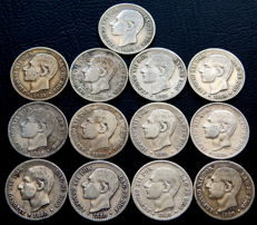 Spain - Alfonso XII - lot of 13 50 silver cent coins from the year 1880.