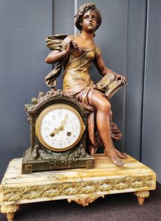 Antique French zamak pendule titled 'L'Histoire' - signed by Francois Moreau - late 19th century