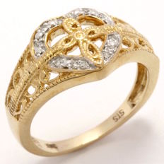 14 kt Yellow Gold 0.10 ct Diamond Ring  ,  Size: 7