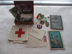 Germany; Set of photos, documents, wehrpass, bracelet, pins