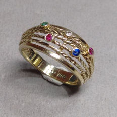 14kt yellow gold ring with ruby, sapphire, emerald and diamond, ring size 54, diameter 17.4mm