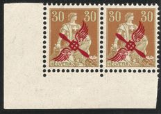 Switzerland 1920 – horizontal pair with sheet edge 30 Rp. light brown / light green with red propeller overprint – Michel no. 152