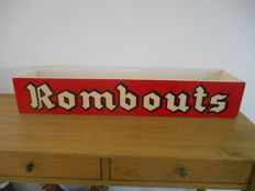 Large wooden advertising box for Rombouts koffie from ca. 1960