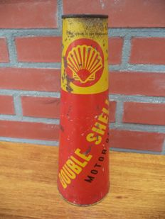 Double Shell oil cans - conical oil can - Shell original from the 1940s