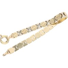 14 kt bicolour link bracelet with alternate yellow gold and white gold links - 20.2 cm
