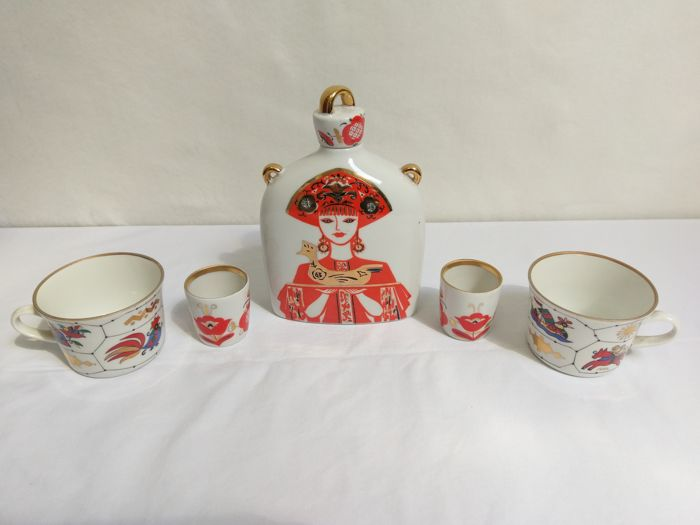 Lomonosov Vodka / Whiskey set + 2 rare cups