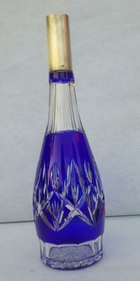 Bottle in hammered crystal with 800 silver neck - Bohemia Germany - 1840 - 1850 ca.
