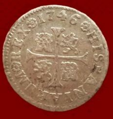 Spain - Felipe V, 1/2 Royal silver, Madrid 1746 (AJ Practitioner) - 15mm / 1.4 g