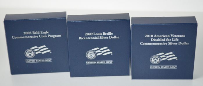 US - proof silver dollar 2008/2009/2010 (3 coins)