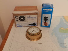Vintage Sailing items as new, Trailing log Windspeed Indicator Ships clock .Stowe Marine UK Anema windspeed ,West Germany ,Quartz Clock Germany