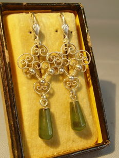 Filigree earrings with forest green Canadian jade droplets, around 1940