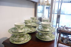 Set of 10 tea cups and matching saucers and plates - Unicorn, Staffordhsire