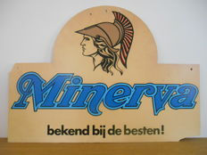 Rare double-sided advertising sign for Minerva from 1960