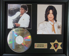 Michael Jackson Thriller CD, pre-printed Autograph & Plectrum Presentation
