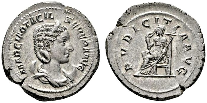 Roman Empire - Otacilia Severa (Augusta, 244-249) silver antoninianus (5,78 g.), Rome mint. 4th officina. 4th emission of Philip I, AD 245. PVDICITIA AVG