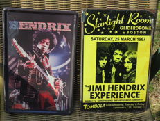 Two Stunning Jimi Hendrix - Metal Memorial Concert Signs - The Jimi Hendrix Experience 1967 - Jimi Hendrix Live On Stage -