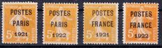 France 1920/1922 – Pre-cancelled – Yvert no. 27, 30, 33, 36