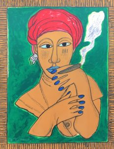 Guillaume Cornelis van Beverloo called Corneille (1922-2010) -  Afro-Cubaine fumant le cigare