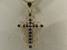Cross in 18kt gold filigree and round 0.56ct sapphires, double sided