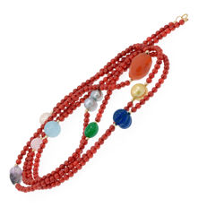 18k/750 yellow gold necklace with coral and assorted gemstones - Length: 141 cm