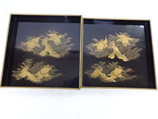 Two,Excellent large lacquer tray with turtle decoration - Japan - late 19th century (Meiji period)