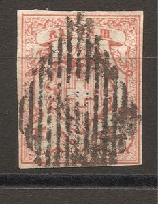 Switzerland 1850-1854 – RAYON III with small value numeral, cancelled with black Swiss rhombus – Michel no. 10