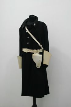 Principality of Monaco; parade uniform of public safety - long winter coat - accessories - circa 1960