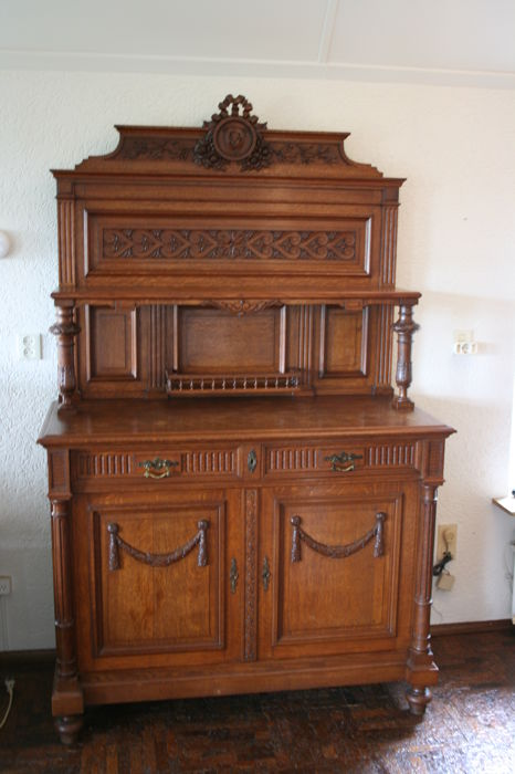 Complete set of oak furniture from late 19th century with the eclectic style, circa 1900