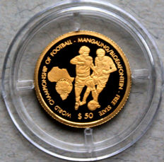 Namibia -- 50 dollars 2009 'Football World Cup 2010 in South Africa' -- gold